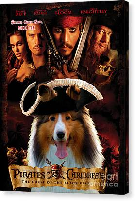 Sheltie - Shetland Sheepdog Art Canvas Print - Pirates Of The Caribbean The Curse Of The Black Pearl Canvas Print by Sandra Sij