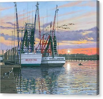 Shem Creek Shrimpers Charleston  Canvas Print by Richard Harpum