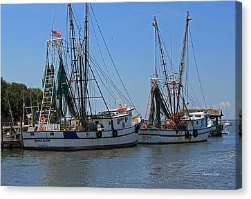 Shem Creek Shrimpers Canvas Print by Suzanne Gaff