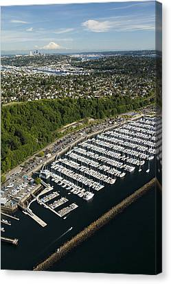 Shilshole Bay Marina On Puget Sound Canvas Print by Andrew Buchanan/SLP