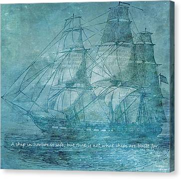 Ship 1 With Quote Canvas Print by Angelina Vick