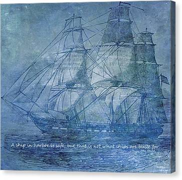 Ship 2 With Quote Canvas Print by Angelina Vick