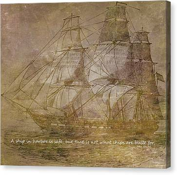 Ship 3 With Quote Canvas Print by Angelina Vick