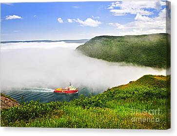 Ship Entering The Narrows Of St John's Canvas Print by Elena Elisseeva