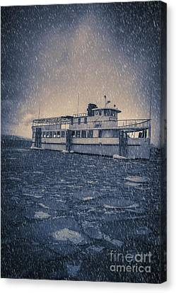 Ship In A Snowstorm Canvas Print by Edward Fielding