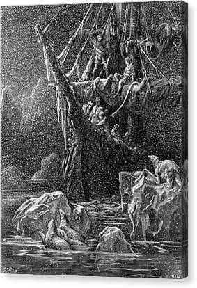 Ship In Antartica Canvas Print by Gustave Dore