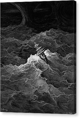 Ship In Stormy Sea Canvas Print by Gustave Dore