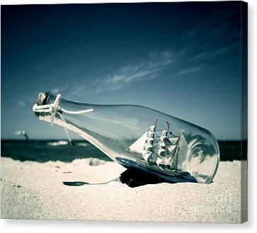 Ship In The Bottle Canvas Print by Michal Bednarek