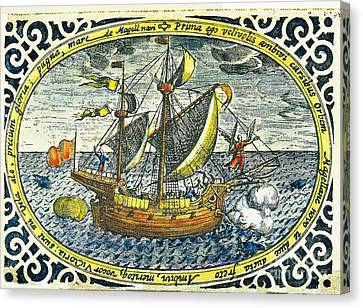 Ship Of Magellan Canvas Print by Akg