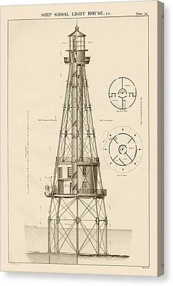 Ship Shoal Lighthouse Drawing Canvas Print by Jerry McElroy - Public Domain Image