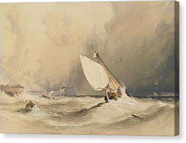Ships At Sea Off Folkestone Harbour Storm Approaching Canvas Print by Anthony Vandyke Copley Fielding