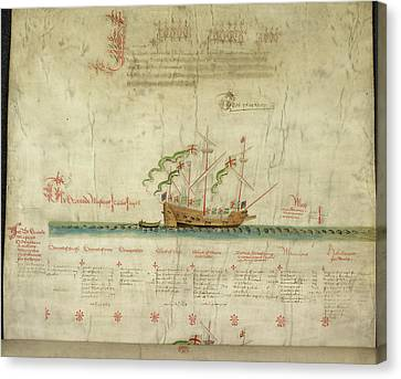 Ships In The King's Navy Fleet From 1546 Canvas Print by British Library