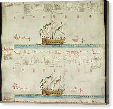 Ships In The King's Navy Fleet From 1549 Canvas Print by British Library