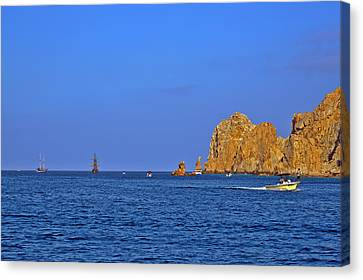 Ships Lining Up At Land's End Canvas Print by Christine Till