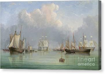 Ships Off Ryde Canvas Print by Arthur Wellington Fowles