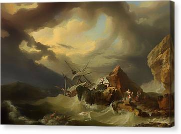 Shipwreck Off A Rocky Coast Canvas Print by Mountain Dreams