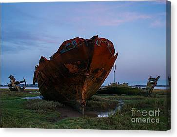 Shipwrecks At Sunset Canvas Print by John Collier