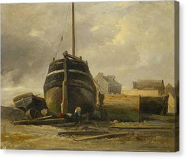 Shipyard At Le Havre Canvas Print by Jules Coignet