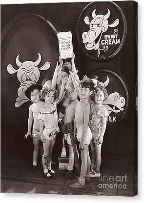 Shirley Temple And Gang - Sepia Canvas Print by MMG Archives
