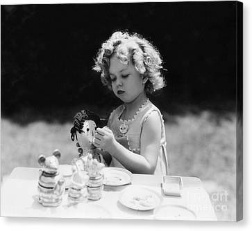 Shirley Temple Tea Party With Doll Canvas Print by MMG Archives