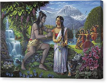 Shiva And Parvati Canvas Print by Vishnudas