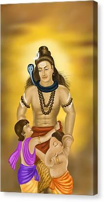 Shiva Family.  Canvas Print by Mayur Sharma