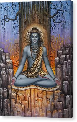 Shiva Meditation Canvas Print by Vrindavan Das