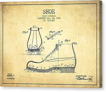 Shoe Patent From 1906 - Vintage Canvas Print by Aged Pixel