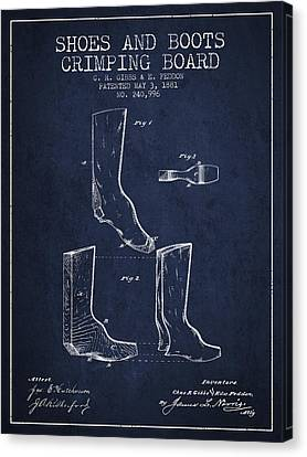 Shoes And Boots Crimping Board Patent From 1881 - Navy Blue Canvas Print by Aged Pixel
