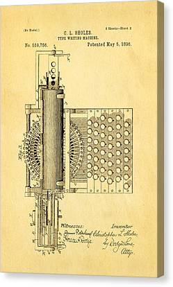 Sholes Type Writing Machine Patent Art 2 1896 Canvas Print by Ian Monk