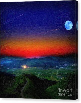 Shooting Stary Night Art Canvas Print by Celestial Images
