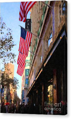 Shopping Along Market Street In San Francisco - 5d20717 Canvas Print by Wingsdomain Art and Photography