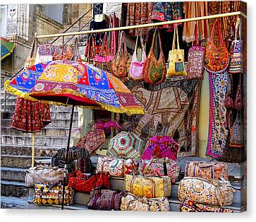Shopping Colorful Bags Sale Jaipur Rajasthan India Canvas Print by Sue Jacobi