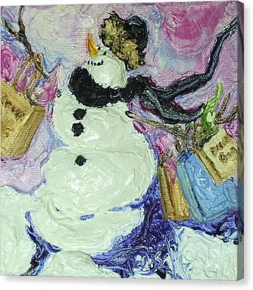 Shopping Snow Girl Canvas Print by Paris Wyatt Llanso