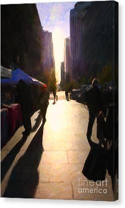 Shopping Stands Along Market Street At San Francisco's Embarcadero - 5d20842 Canvas Print by Wingsdomain Art and Photography