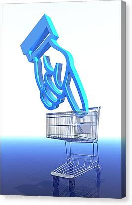 Shopping Trolley And Icon Canvas Print by Victor Habbick Visions