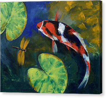 Showa Koi And Dragonfly Canvas Print by Michael Creese