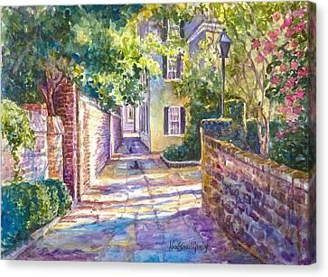 Showdown In Price's Alley Canvas Print by Alice Grimsley