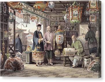 Showroom Of A Lantern Merchant Canvas Print by Thomas Allom