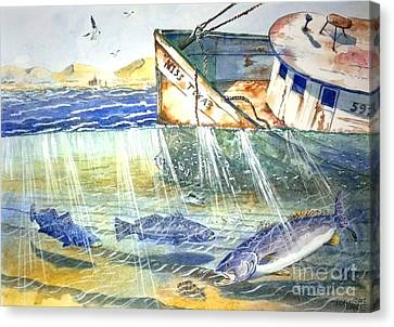 Shrimp Boat And Sea Trout Canvas Print by Don Hand