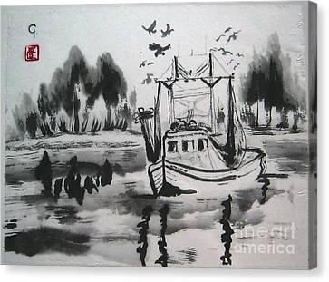 Shrimp Boat Biloxi Canvas Print by Jeanel Walker