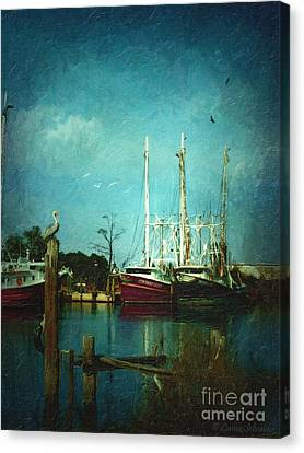 Shrimp Boats Is A Comin Canvas Print by Lianne Schneider