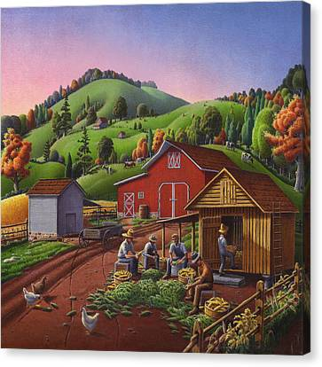 Shucking And Storing Corn In The Corn Crib Farm Landscape - Square Format Canvas Print by Walt Curlee