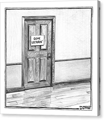 Shut Door In A Hallway With A Sign That Read Gone Canvas Print by Matthew Diffee