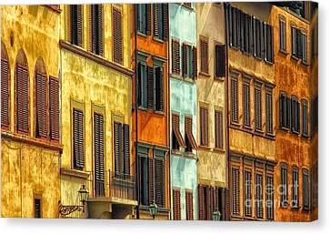 Shuttered Windows Of Florence Canvas Print by Mike Nellums