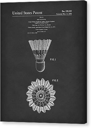 Shuttlecock 1976 Patent Art Black Canvas Print by Prior Art Design