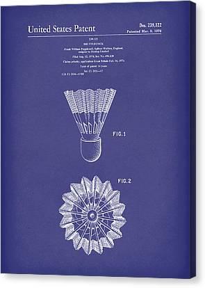 Shuttlecock 1976 Patent Art Blue Canvas Print by Prior Art Design