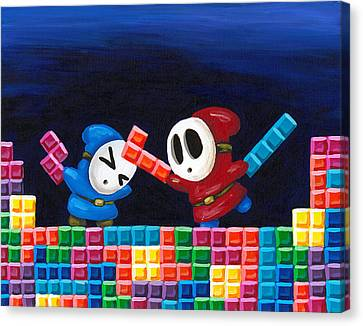 Shy Guys Playing Tetris Canvas Print by Katie Clark
