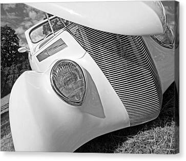 Shy Stunner - 1937 Ford In Black And White Canvas Print by Gill Billington
