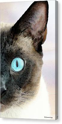 Siamese Cat Art - Half The Story Canvas Print by Sharon Cummings